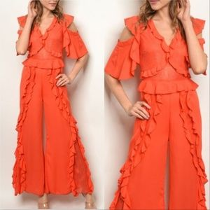 Jumpsuit Coral Ruffled Jumpsuit